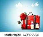 turkey  vintage suitcase with... | Shutterstock . vector #626470913