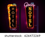 neon sign city banner hotel ... | Shutterstock .eps vector #626472269