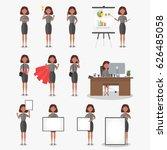 set of working businesswoman on ... | Shutterstock .eps vector #626485058