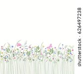 seamless floral border with... | Shutterstock .eps vector #626497238