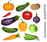 set of vegetables labels with... | Shutterstock .eps vector #626497949