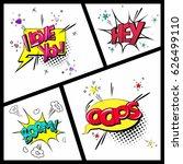 set of vector comic sound... | Shutterstock .eps vector #626499110