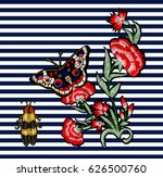 butterfly  beetle and flowers... | Shutterstock .eps vector #626500760