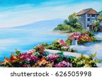 oil painting  house near the... | Shutterstock . vector #626505998