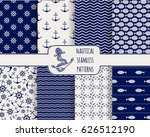 set of seamless nautical... | Shutterstock .eps vector #626512190