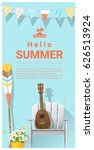 hello summer background with... | Shutterstock .eps vector #626513924