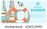 hello summer background with... | Shutterstock .eps vector #626513990