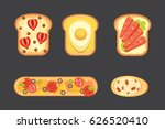 set toasts and sandwich...   Shutterstock .eps vector #626520410