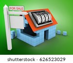 3d illustration of block house... | Shutterstock . vector #626523029