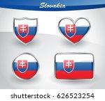 glossy slovakia flag icon set... | Shutterstock .eps vector #626523254