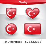 glossy turkey flag icon set... | Shutterstock .eps vector #626523338