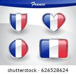 glossy france flag icon set... | Shutterstock .eps vector #626528624