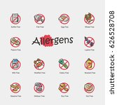 set of allergens icons isolated ... | Shutterstock .eps vector #626528708