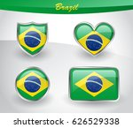 glossy brazil flag icon set... | Shutterstock .eps vector #626529338