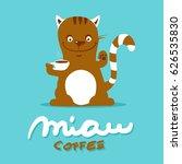 cat drinks coffee   vector...   Shutterstock .eps vector #626535830