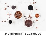 cups of coffee  chocolate cake  ... | Shutterstock . vector #626538308