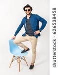 young handsome hipster man ... | Shutterstock . vector #626538458