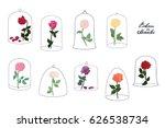 rose flower under a glass dome... | Shutterstock .eps vector #626538734