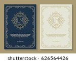 greeting card set with monogram ... | Shutterstock .eps vector #626564426