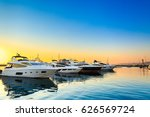 luxury yachts docked in sea... | Shutterstock . vector #626569724