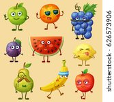 funny fruit characters isolated ... | Shutterstock .eps vector #626573906