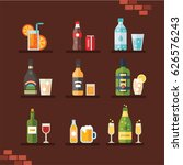 alcohol icon set  flat  eps 8... | Shutterstock .eps vector #626576243