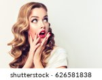 shocked and surprised girl... | Shutterstock . vector #626581838