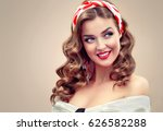 beautiful retro vintage pin up... | Shutterstock . vector #626582288