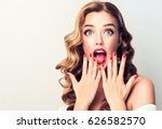 shocked and surprised girl... | Shutterstock . vector #626582570