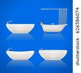 bathtubes set on white | Shutterstock .eps vector #626586074