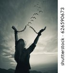 a woman breaks her chains as... | Shutterstock . vector #626590673