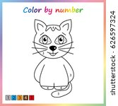 cat   painting page  color by... | Shutterstock .eps vector #626597324