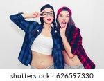 fun girl stick tongue out... | Shutterstock . vector #626597330