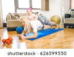 attractive blonde mother in 30s ... | Shutterstock . vector #626599550