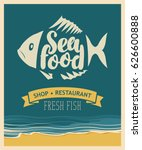 retro banner for seafood... | Shutterstock .eps vector #626600888