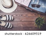 travel preparations concept on... | Shutterstock . vector #626609519
