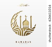 ramadan greeting card with... | Shutterstock .eps vector #626611016