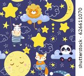 seamless pattern with cute... | Shutterstock .eps vector #626611070