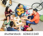 trendy friends having fun in... | Shutterstock . vector #626611160