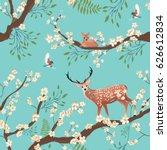 seamless background of sakura... | Shutterstock .eps vector #626612834