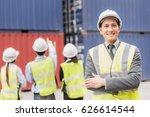 confident businessman and team... | Shutterstock . vector #626614544
