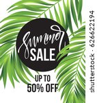 sale banner  poster with palm... | Shutterstock .eps vector #626622194