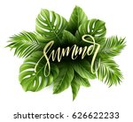 summer poster with tropical... | Shutterstock .eps vector #626622233