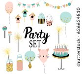 party set of decorations ... | Shutterstock .eps vector #626624810