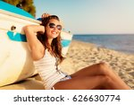 beautiful young woman relaxing... | Shutterstock . vector #626630774