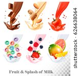 set of three labels of of fruit ... | Shutterstock .eps vector #626638064