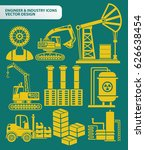 engineer and industry icon set... | Shutterstock .eps vector #626638454