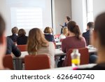 female speaker giving... | Shutterstock . vector #626640740
