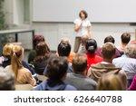 female speaker giving... | Shutterstock . vector #626640788