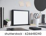 creative desk with blank... | Shutterstock . vector #626648240